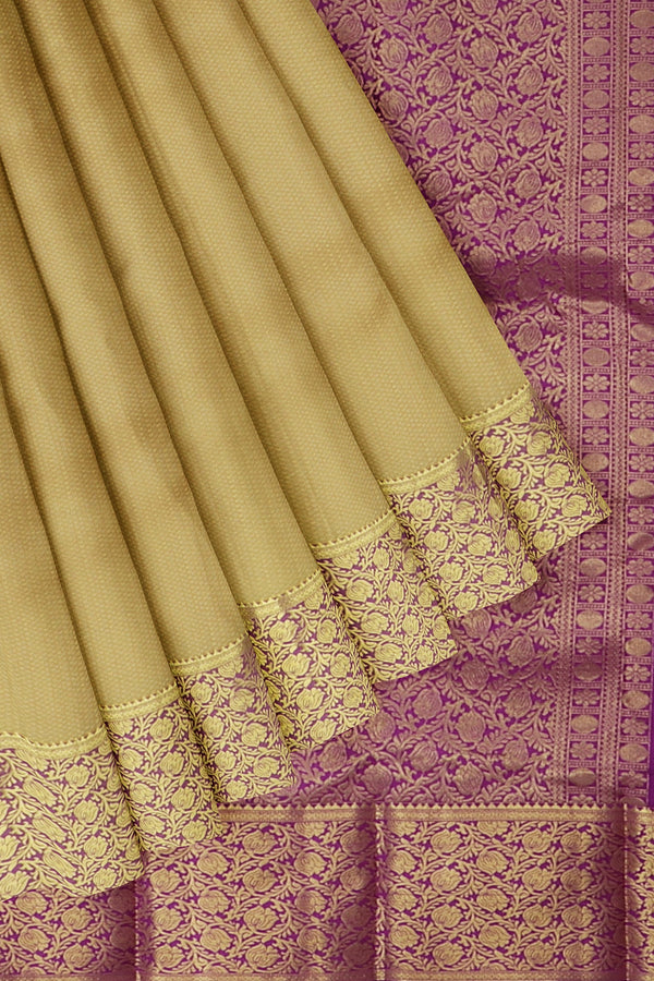 Kanjivaram silk saree beige and purple with overall self emboss and floral zari border