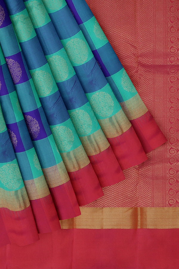 Kanjivaram silk saree blue and teal green with pink checked pattern and overall golden zari buttas