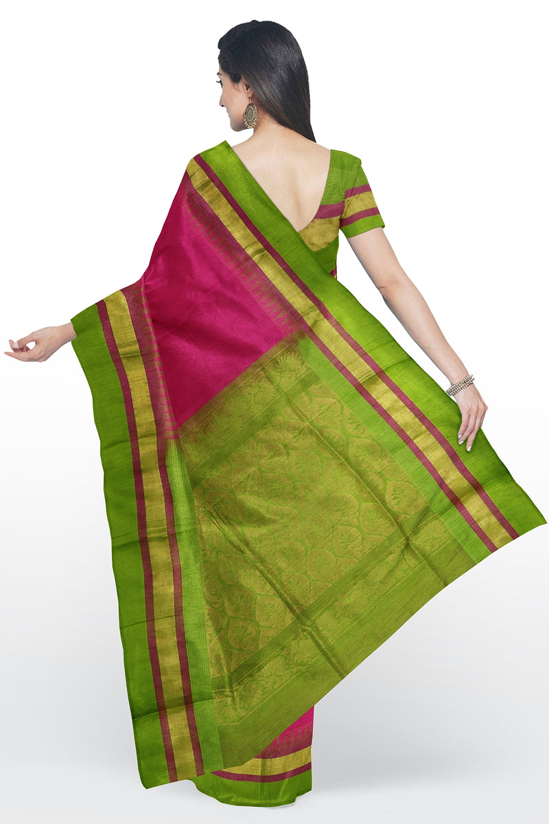 Kuppadam silk cotton saree Pink and leaf green with golden zari temple thread border