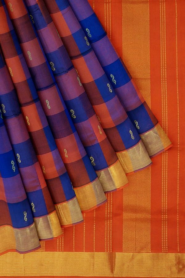 Silk Cotton Saree orange and blue paalum pazhamum checks with bavanji border
