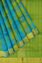 Silk Cotton Saree sky blue and green paalum pazhamum checks with bavanji border