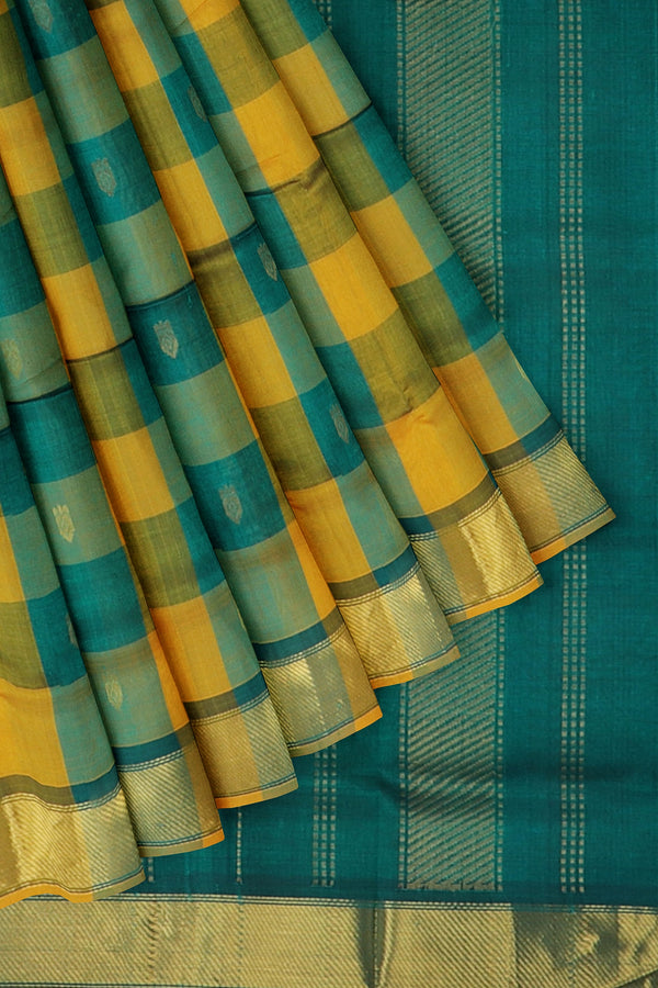 Silk Cotton Saree mustard yellow and bottle green paalum pazhamum checks with bavanji border