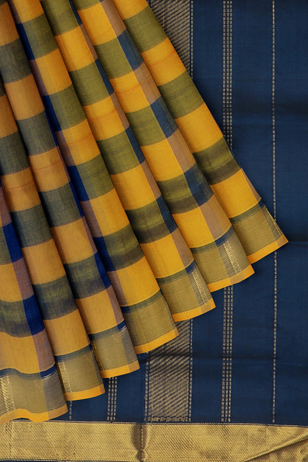 Silk Cotton Saree mustard yellow and navy blue paalum pazhamum checks with bavanji border
