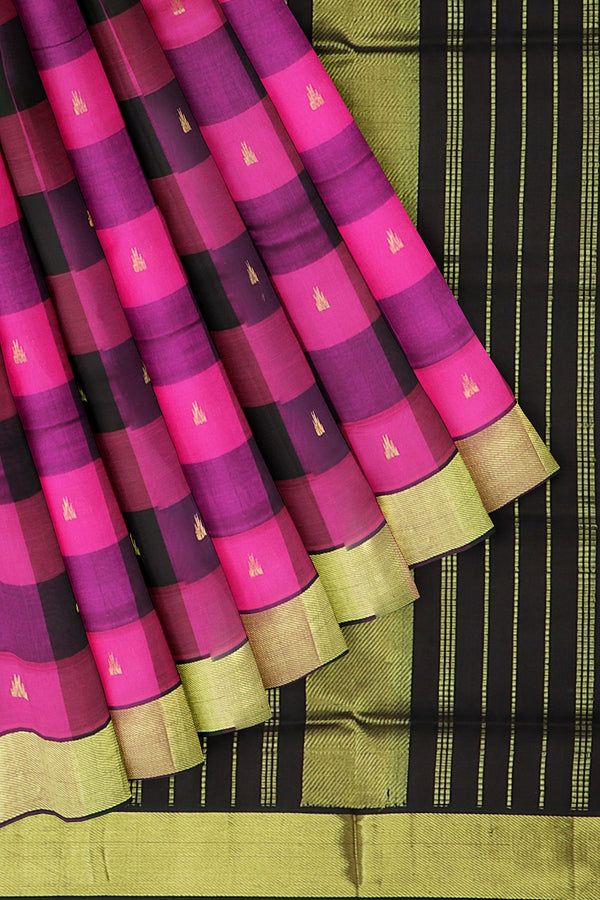 Silk Cotton Saree hot pink and coffee brown paalum pazhamum checks with bavanji border