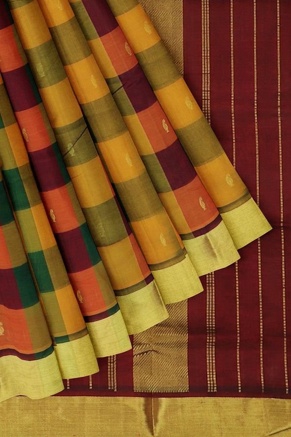 Silk Cotton Saree multi colour paalum pazhamum checks with bavanji border