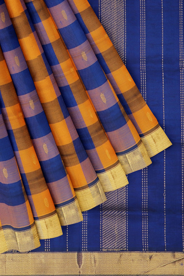 Silk Cotton Saree mustard orange and blue paalum pazhamum checks with bavanji border
