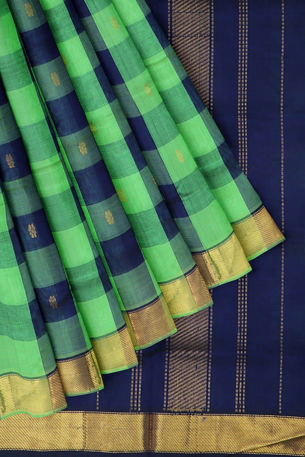 Silk Cotton Saree green and blue paalum pazhamum checks with bavanji border