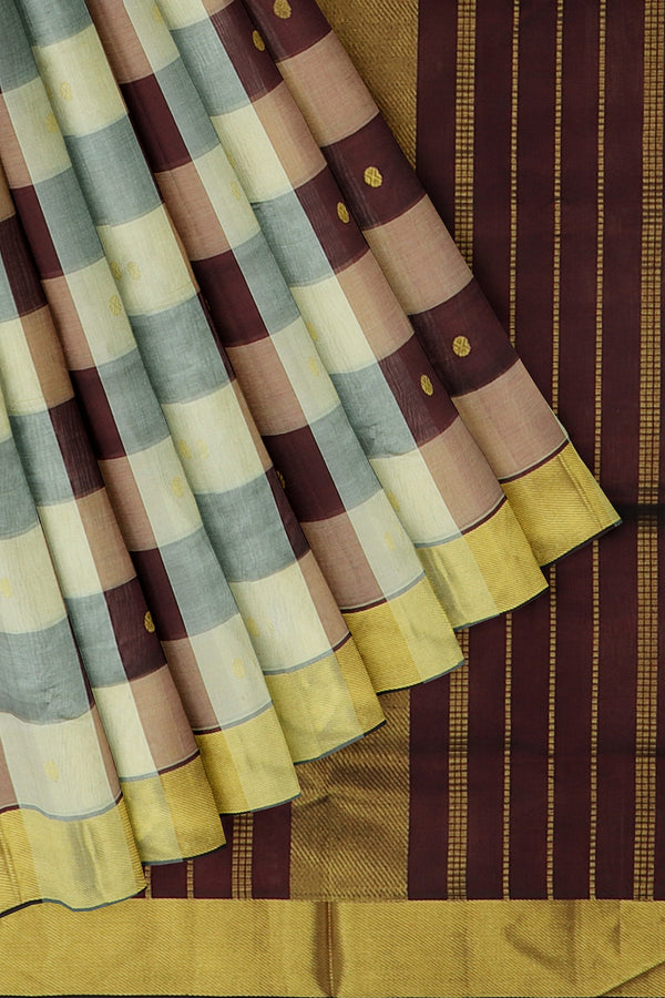 Silk Cotton Saree half white and coffee brown paalum pazhamum checks with bavanji border