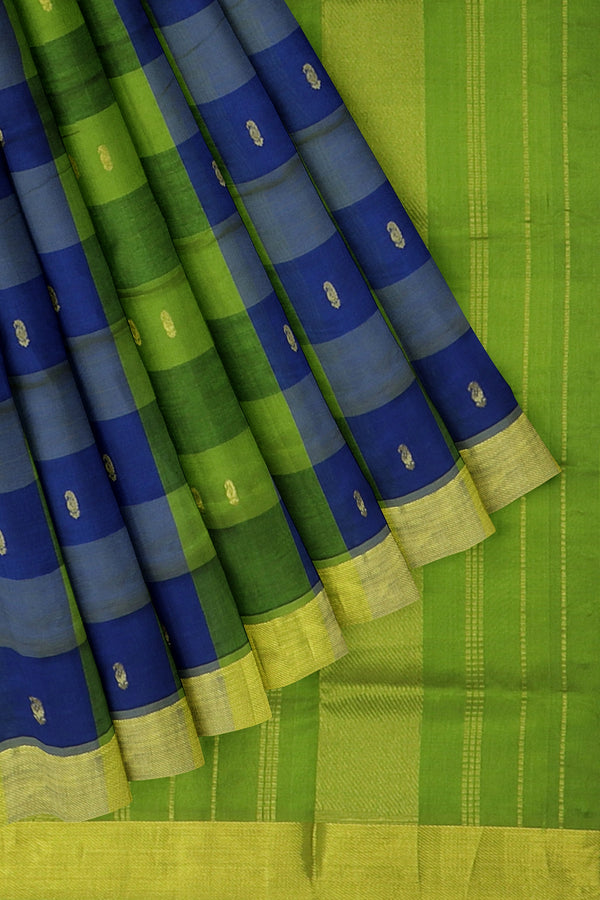Silk Cotton Saree Blue and green paalum pazhamum checks with bavanji border