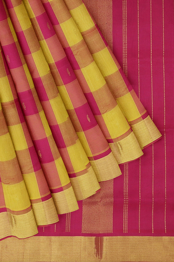 Silk Cotton Saree yellow and pink paalum pazhamum checks with bavanji border