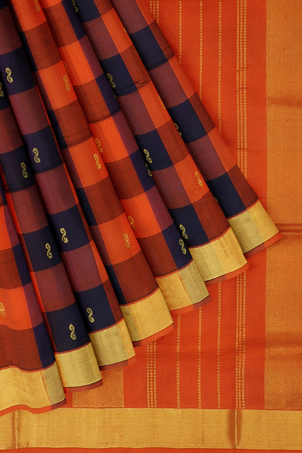 Silk Cotton Saree Navy blue and orange paalum pazhamum checks with bavanji border