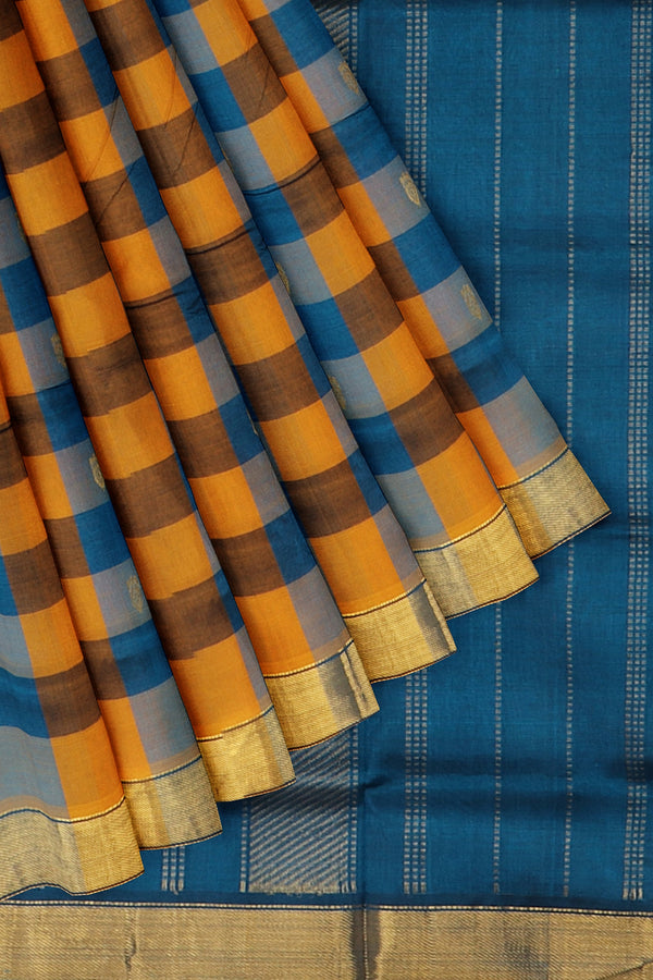 Silk Cotton Saree mustard yellow and peacock blue paalum pazhamum checks with bavanji border
