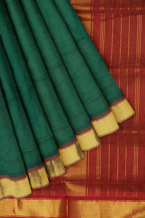 Silk Cotton Saree green and red with bavanji border vairaosi 10 yards