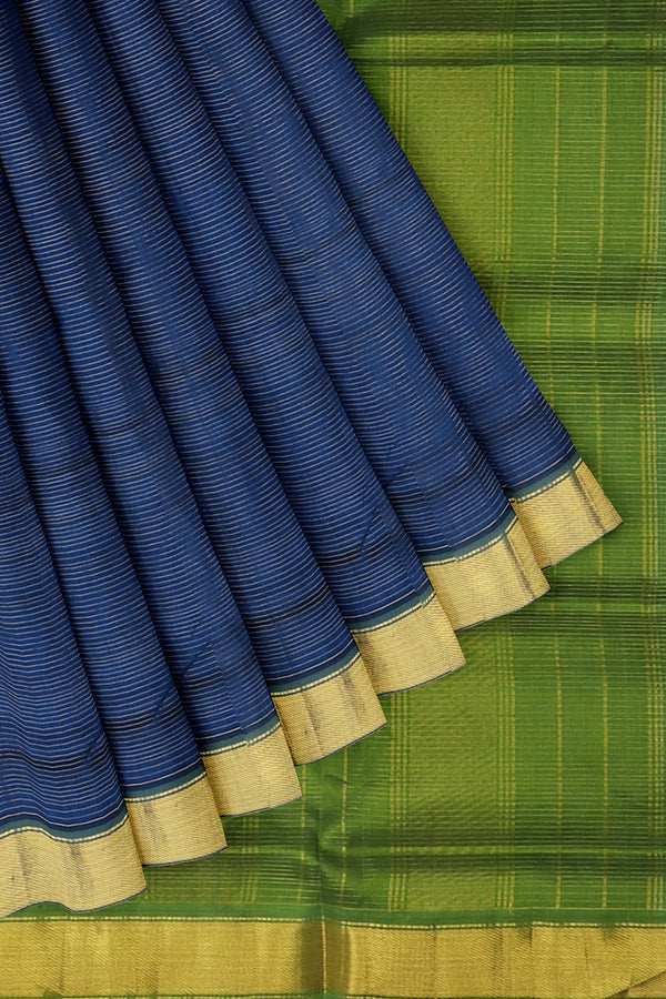 Silk Cotton Saree blue and green with bavanji border vairaosi 10 yards