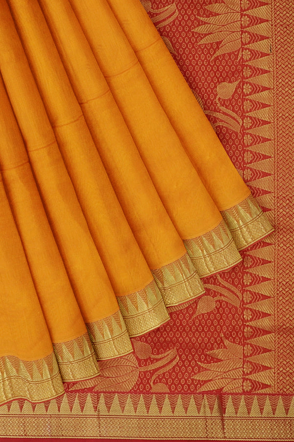 Silk Cotton Saree mango yellow and red with golden zari temple border 10 yards