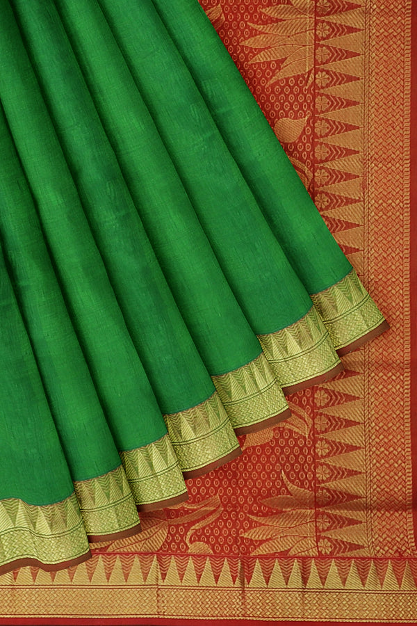 Silk Cotton Saree green and red with golden zari temple border 10 yards