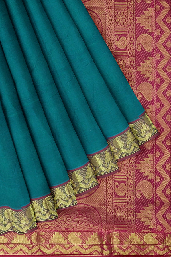 Silk Cotton Saree dual shade of peacock green and pink with golden zari paisley temple border - 10 yards