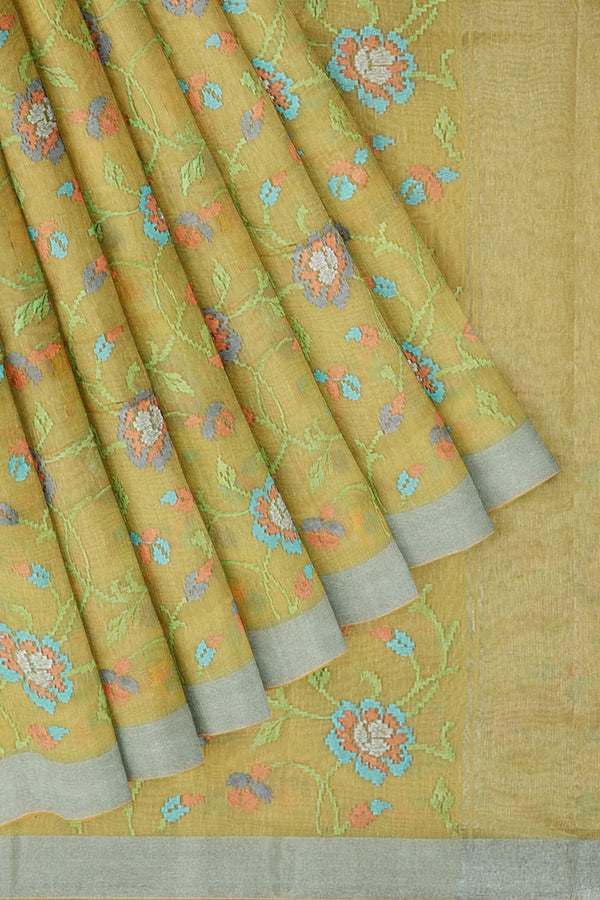 Linen Saree yellow with floral computerized embroidery and silver zari border