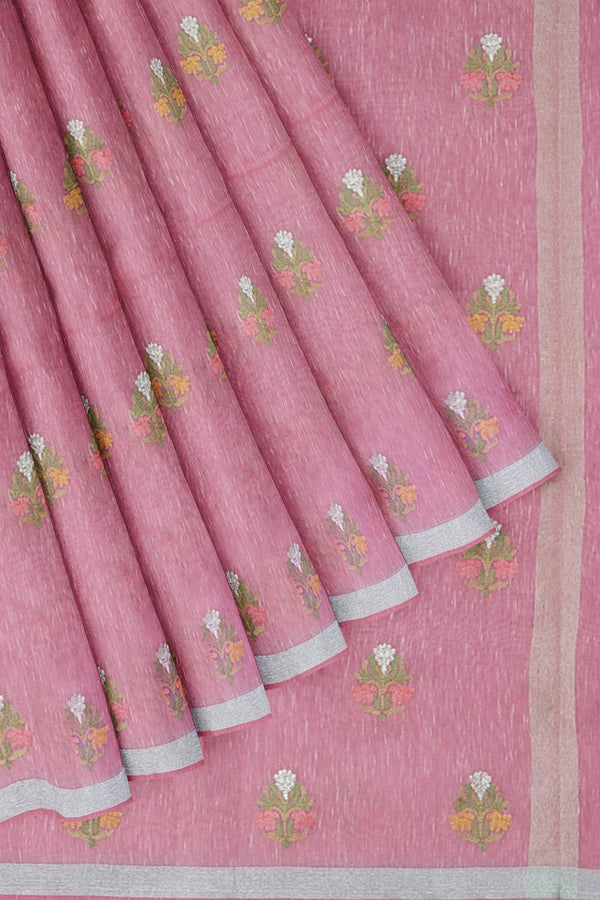 Linen Saree baby pink with embroidered floral buttas and silver zari border