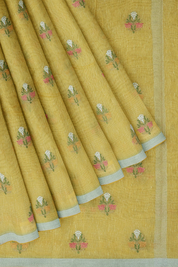 Linen Saree yellow with embroidered floral buttas and silver zari border