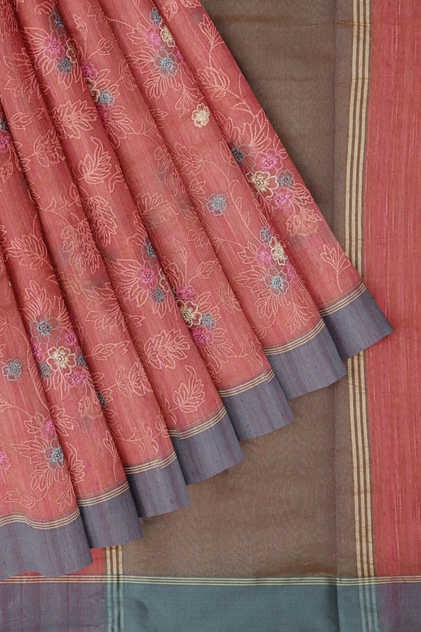Linen Saree pink with all over floral embroidery and ash border