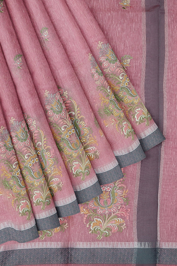 Linen Saree pink with thread embroidery