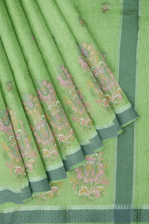 Linen Saree green with thread embroidery
