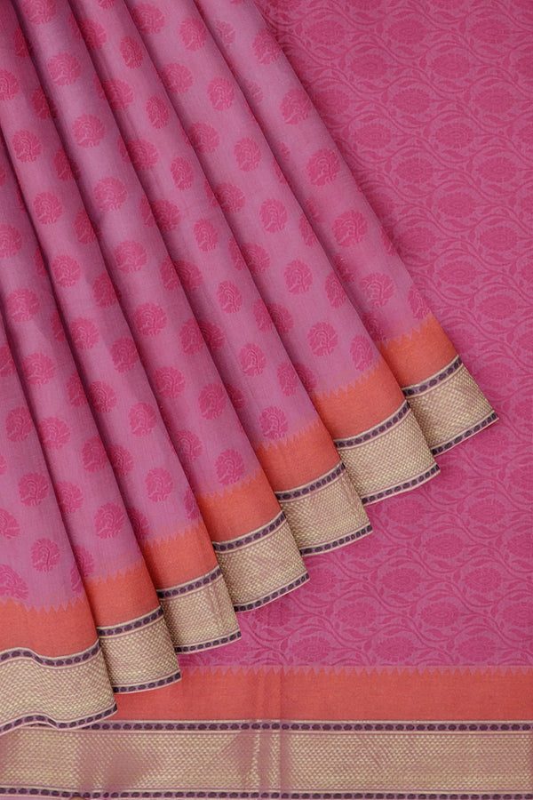 Linen Saree pink with woven thread buttas and zari border