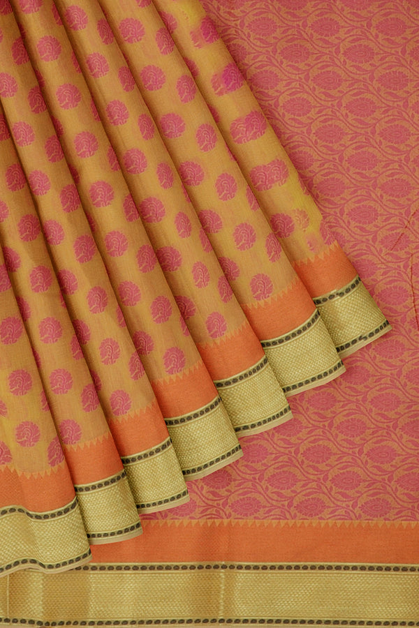 Linen Saree yellow with woven thread buttas and zari border