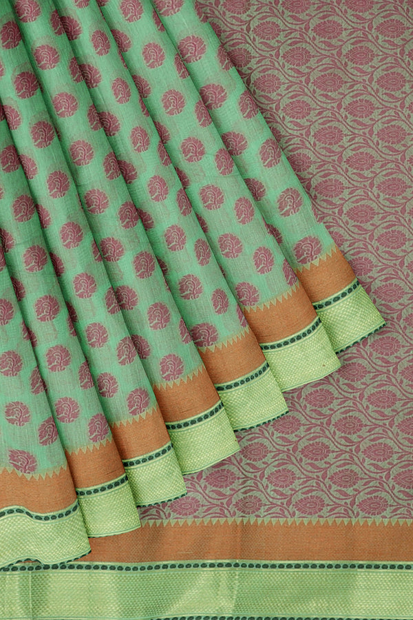 Linen Saree green with woven thread buttas and zari border