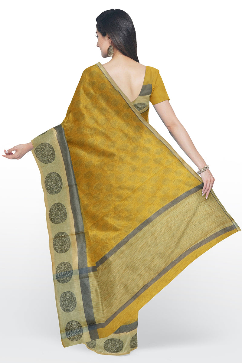 Kota Saree yellow with all over print and thread woven satin border
