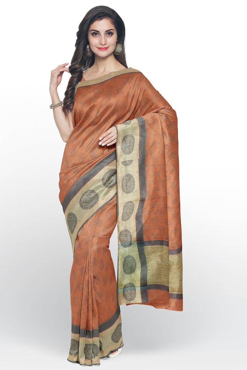 Kota Saree peach with all over print and thread woven satin border