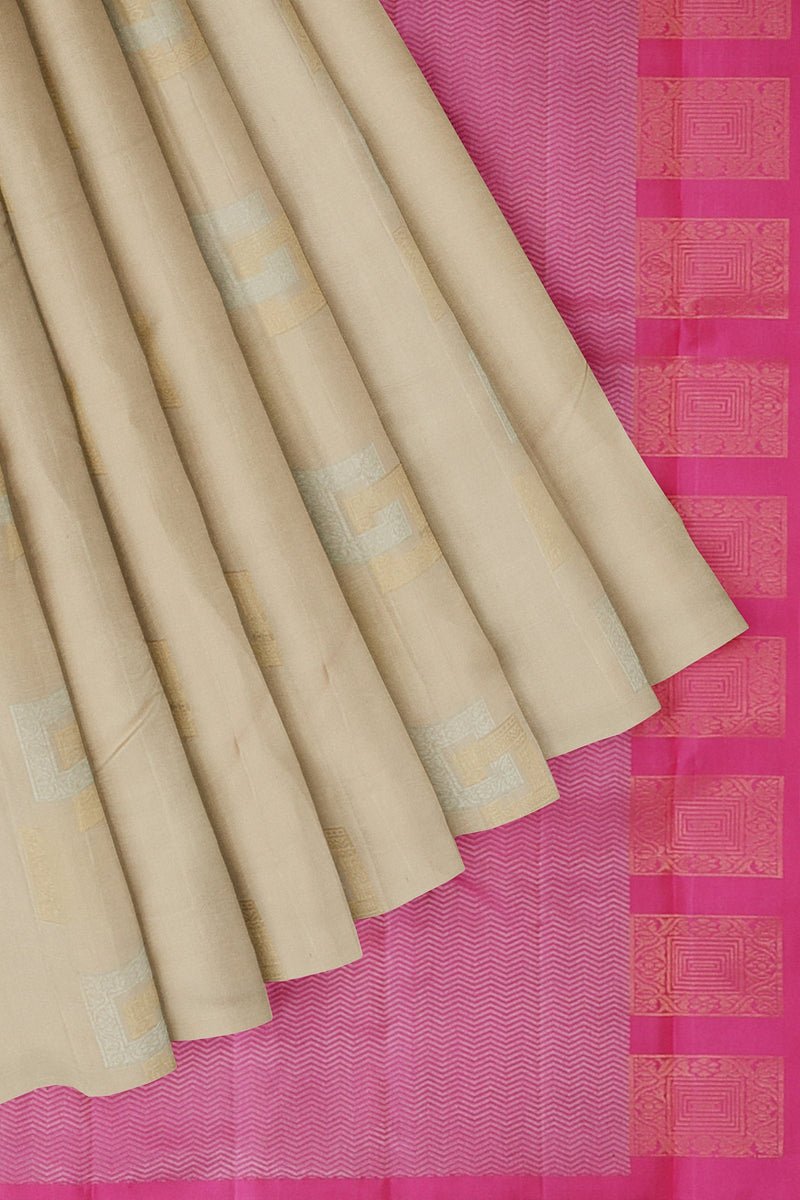 Soft Silk Saree cream and pink with gold and silver geometric buttas in borderless style