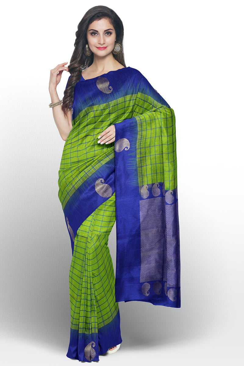 Soft Silk saree green and blue checked pattern with mango motif border