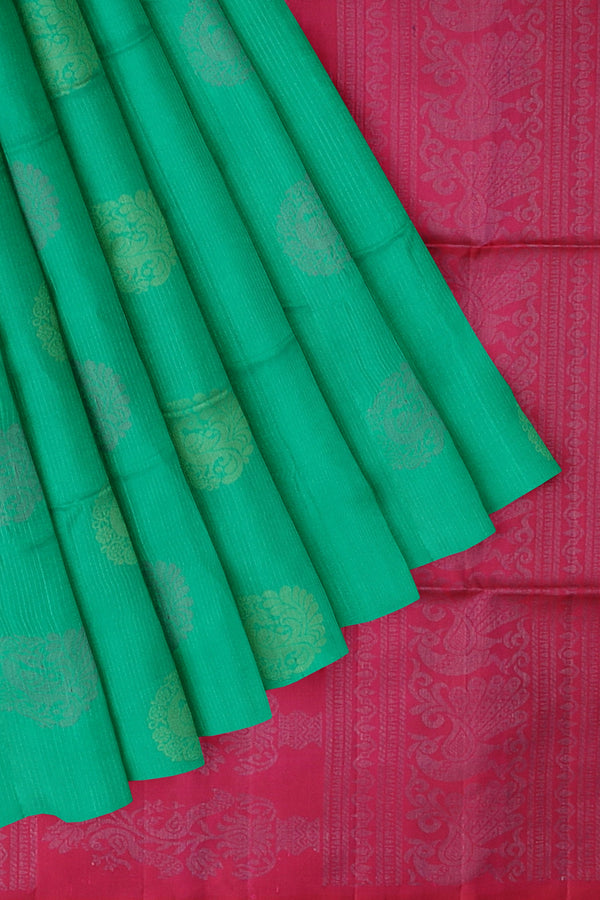 Soft Silk saree green and pink with silver vertical lines and peacock buttas