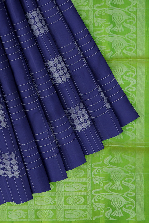 Soft Silk Saree navy blue and parrot green with silver zari checked pattern and annam buttas