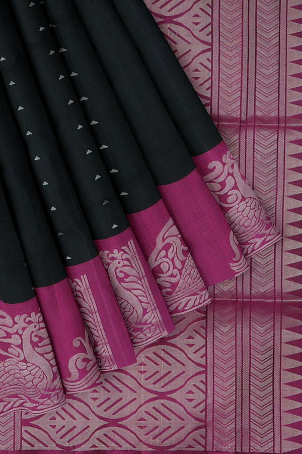 Soft Silk Saree black and magenta with silver zari woven peacock border and buttas