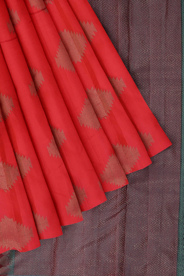 Soft silk saree tomato pink and red dual shade with copper zari buttas and grey pallu