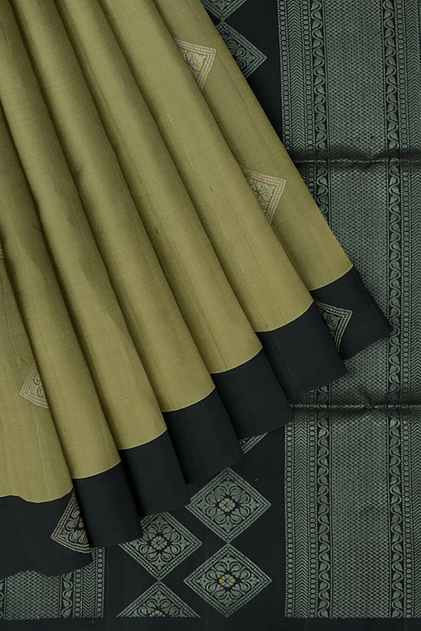 Soft Silk saree antique gold and black with geometeric silver zari woven buttas
