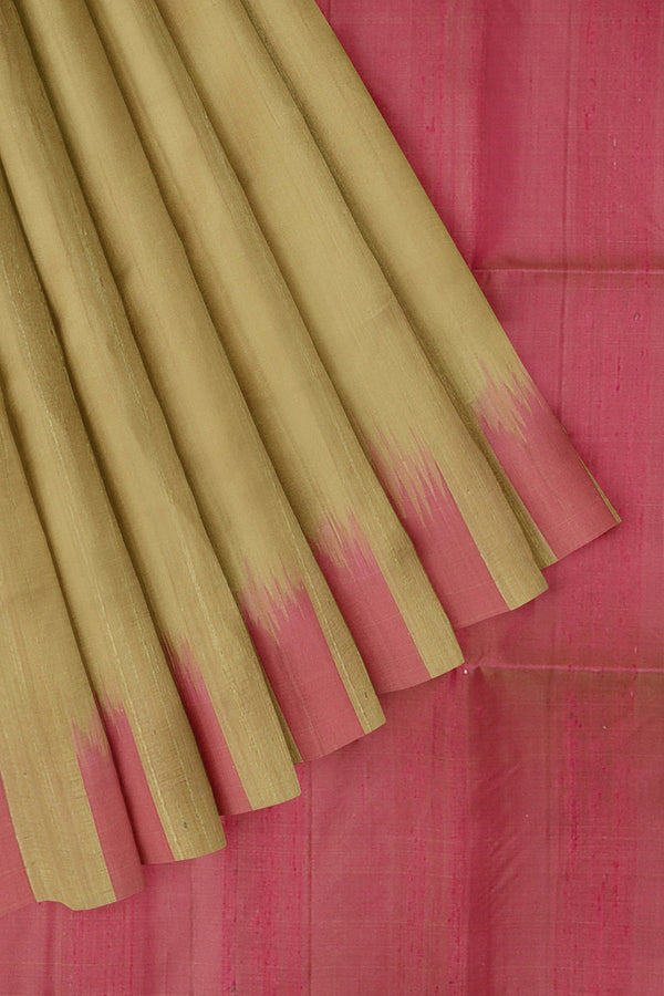 Pure Jute Raw silk saree saree beige and pink without zari style