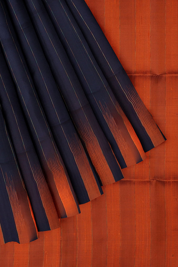 Pure Jute Raw silk saree saree navy blue and brick orange without zari style