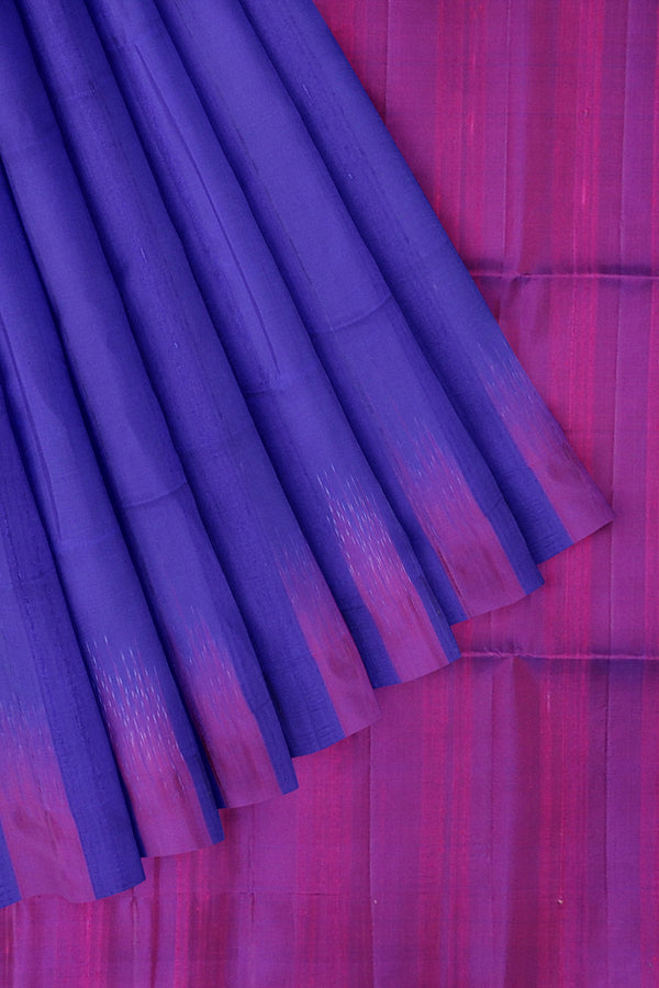 Pure Jute Raw silk saree saree magenta and royal blue without zari style