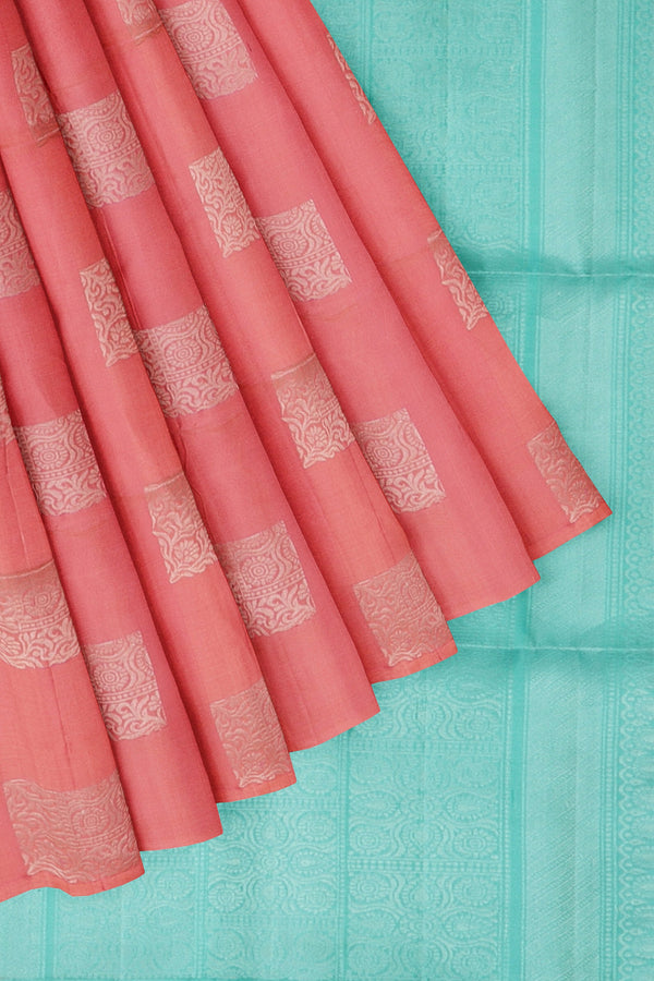 Soft Silk Saree pink and teal with box style silver zari buttas and rich pallu