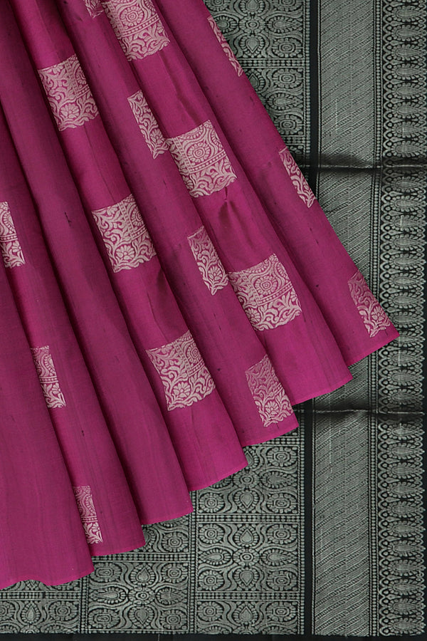 Soft Silk Saree magenta and black with box style silver zari buttas and rich pallu