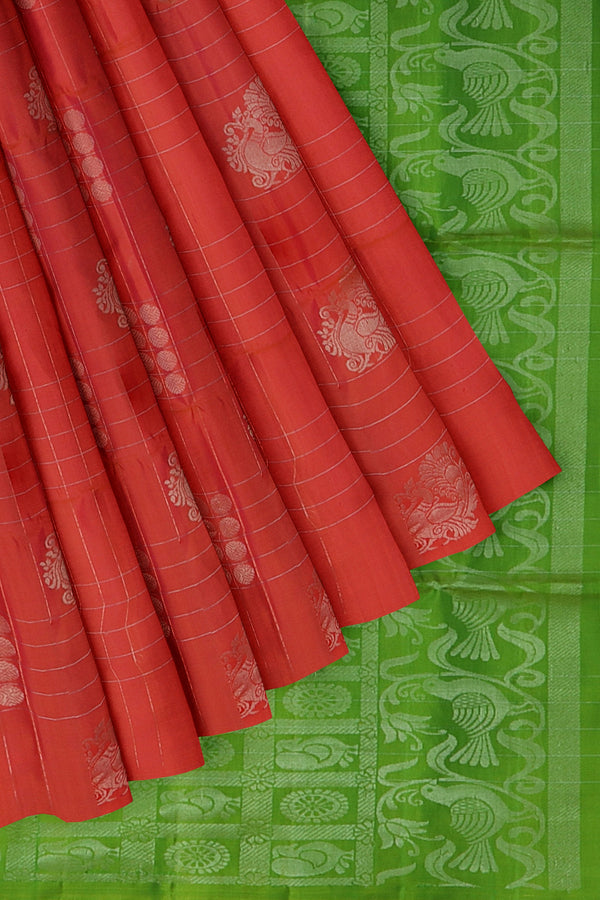 Soft Silk Saree sunset orange with silver zari lines and motifs