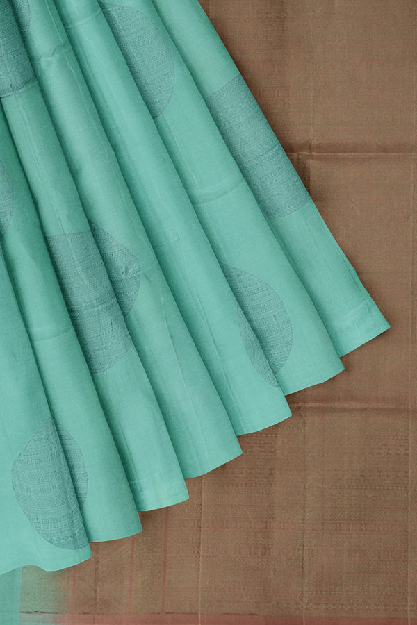 Soft Silk Saree pastel blue and mild brown with neem zari