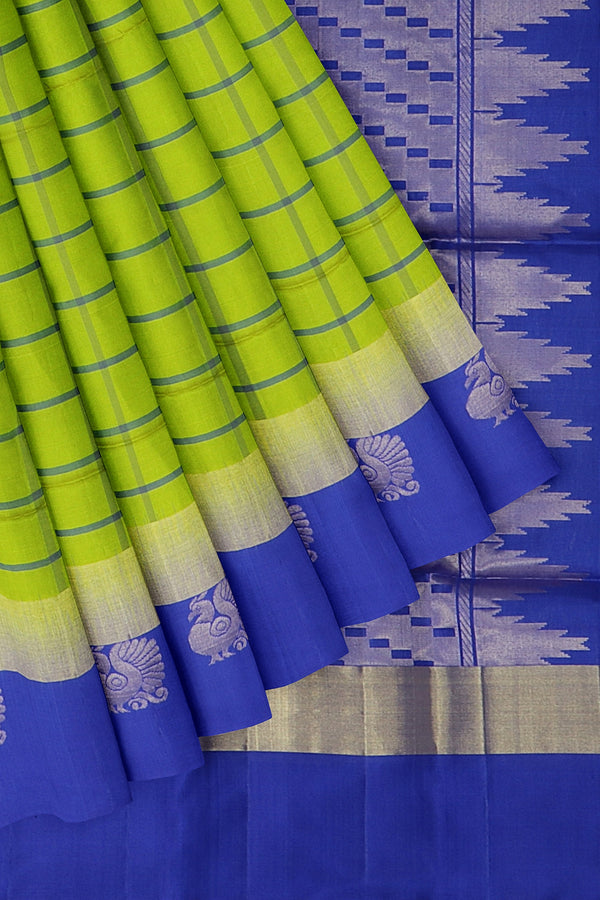 Soft Silk Saree green and roya; blue with checked pattern and peacock buttas