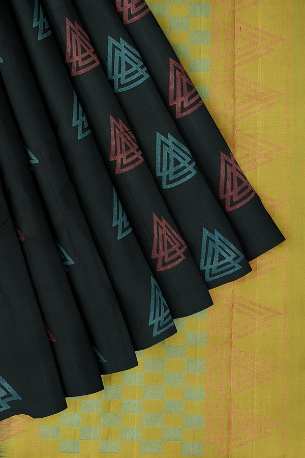 Soft Silk Saree black and golden yellow woith geometric pattern and borderless style