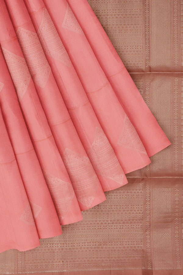 Soft Silk Saree baby pink and pastel brown with silver zari buttas