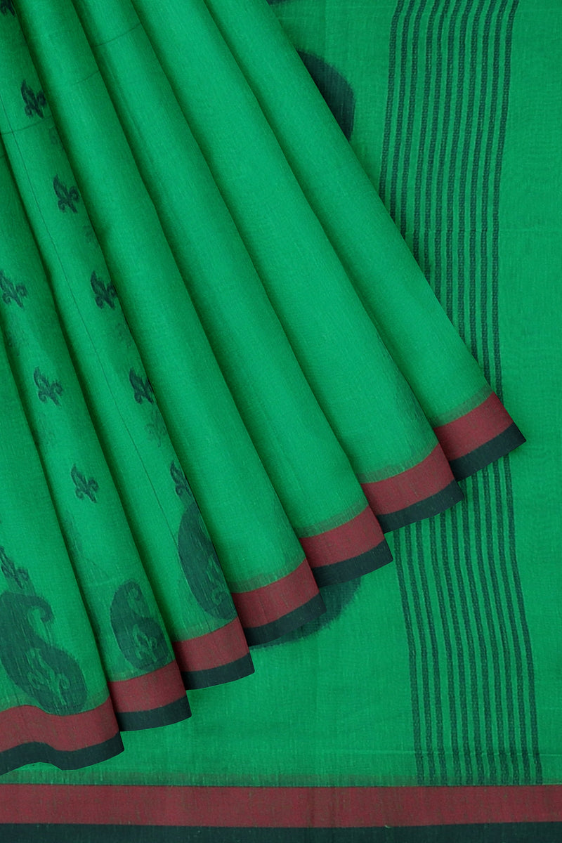 Semi Linen Cotton silk saree green and blue with overall thread buttas and simple border